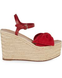 Valentino Suede Bow Espadrille Wedge Sandals - Red