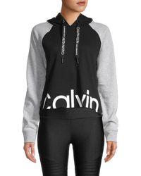 Calvin Klein Women's Colorblock Cotton-blend Hoodie - Black Combo - Size M