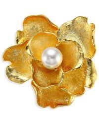 Kenneth Jay Lane - Faux-pearl Flower Brooch - Lyst