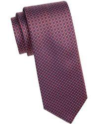 Brioni Men's Silk Woven Medallion Tie - Brown