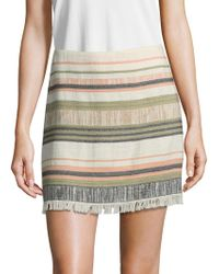 Saks Fifth Avenue - Striped Fray Mini Skirt - Lyst