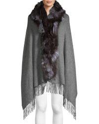 Belle Fare - Dyed Fox Fur Trim Cashmere Wool Shawl - Lyst