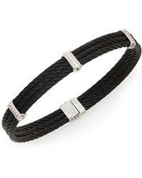 Alor - Noir Diamond, 18k White Gold & Black Stainless Steel Bracelet - Lyst