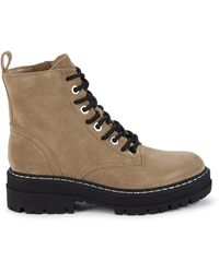 Marc Fisher Lace-up Suede Boots - Natural