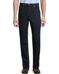7 For All Mankind Men's Standard Squiggle Straight-leg Jeans - Deep Pacific - Size 34 - Blue