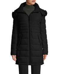 Calvin Klein Faux Fur Hooded Puffer Coat - Black