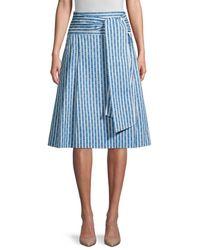Tory Burch Women's Gemini Link Striped Skirt - Gemini Link Bloom Stripe - Size 10 - Blue