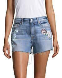7 For All Mankind Painted Floral Denim Shorts - Blue