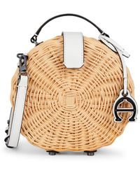Etienne Aigner Mini Charlotte Leather-trimmed Straw Crossbody Circle Bag - Natural