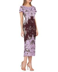 JS Collections Boatneck Embroidered Midi Dress - Purple