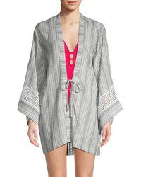 Dolce Vita Printed Cotton Kimono Coverup - Multicolour