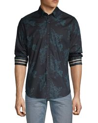Robert Graham Thomas Tailored-fit Floral Stretch Cotton Shirt - Blue