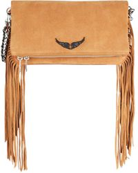 Zadig & Voltaire Rock Fringe Suede Convertible Clutch - White