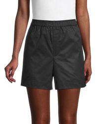 Helmut Lang Resin-finish Cotton Shorts - Black