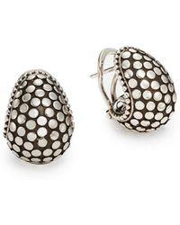 John Hardy Dotted Sterling Silver Buddha Belly Earrings In Metallic Lyst