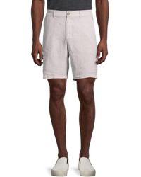Saks Fifth Avenue Flat-front Linen Shorts - Blue