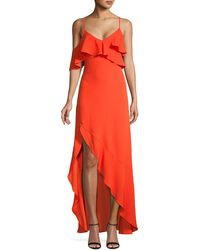 BCBGMAXAZRIA Ruffled Asymmetrical-hem Gown - Red