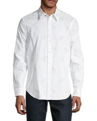 Helmut Lang Logo Cotton Button Front Shirt - White