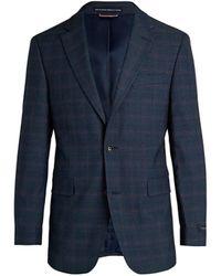 Tommy Hilfiger Men's Regular-fit Plaid Jacket - Blue Red - Size 44 R