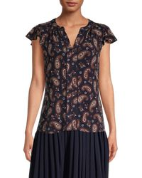 Tommy Hilfiger Women's Paisley-print Flutter-sleeve Top - Midnight Multicolour - Size M - Blue
