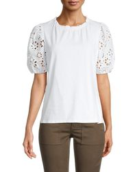 Laundry by Shelli Segal Women's Eyelet Puffed-sleeve Top - White - Size Xl