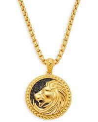 Effy Men's Goldplated Sterling Silver & Black Sapphire Embossed Lion Pendant Necklace