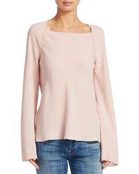 Elizabeth and James Danel Twist-back Long-sleeve Crepe Blouse - Pink