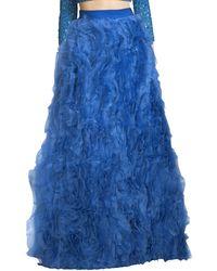 Alice + Olivia Posey Ruffled Silk Maxi Skirt - Blue