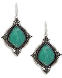 Armenta - Diamond, Malachite And Sterling Silver Drop Earrings - Lyst