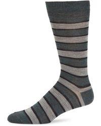 Saks Fifth Avenue Striped Wool-blend Crew Socks - Black