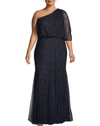 Adrianna Papell Plus Beaded One-shoulder Mermaid Gown - Blue