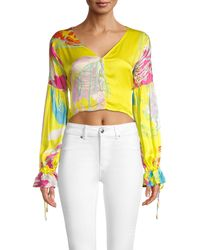 All Things Mochi Abstract-print Cropped Top - Yellow