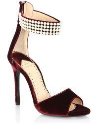 Louis Leeman - Embellished Open Toe Velvet Sandals - Lyst
