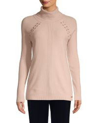 Lace Up Klein Lyst Turtleneck Calvin Sweater 5wTqPxYPA