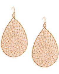 Panacea Crystal Beaded Teardrop Earrings - Pink