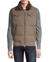 Brunello Cucinelli Men's Shearling-trim Gingham Padded Vest - Brown - Size M