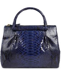 Nancy Gonzalez Medium Reticulated Python Leather Top Handle Bag - Blue