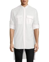Balmain - Hi-lo Cotton Military Shirt - Lyst