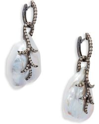 Tara Pearls - 16-18mm Pearl, Diamond And 14k White Gold Drop Earrings - Lyst
