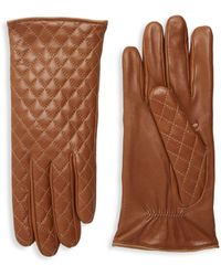 Portolano Quilted Leather Gloves - Purple