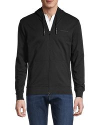 Armani Jeans Men's Logo-embroidered Stretch-cotton Hooded Jacket - Black - Size L