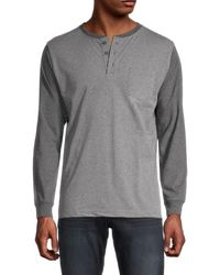 Unsimply Stitched Long-sleeve Cotton Henley - Grey