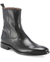 Saks Fifth Avenue Leather Ankle Boots - Black