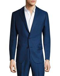 Saks Fifth Avenue Samuelsohn Classic-fit Silk-blend Double Button Jacket - Blue
