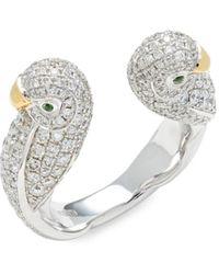 Effy Women's 18k Two-tone Gold, Tsavorite & Diamond Ring - Size 7 - Metallic