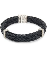 John Hardy Classic Leather & Sterling Silver Chain Bracelet - Black