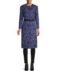 Oscar de la Renta Floral Embroidered Silk, Cotton & Wool-blend Coat - Blue