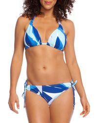 La Blanca Palm-print Halter Bikini Top - Blue