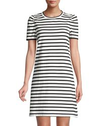 Kate Spade Puff-sleeve Striped T-shirt Dress - Multicolour
