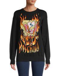 Moschino Women's Graphic Logo Sweatshirt - Nero - Size Xxs - Black
